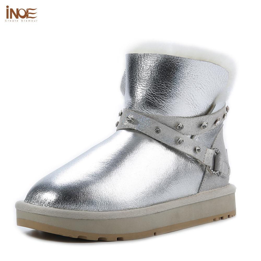 INOE Waterproof Sheepksin Leather Shearling Wool Fur Lined Short Winter Boots Women Ankle Snow Boots Shoes Silver Crystal Strap
