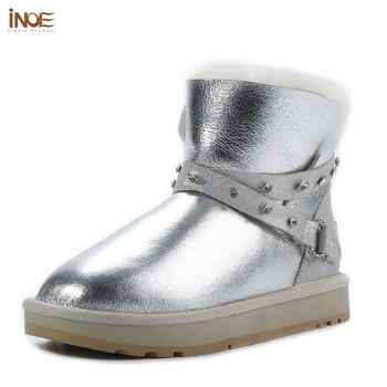 INOE Waterproof Sheepksin Leather Shearling Wool Fur Lined Short Winter Boots Women Ankle Snow Boots Shoes Silver Crystal Strap - DISCOUNT ITEM  50% OFF All Category
