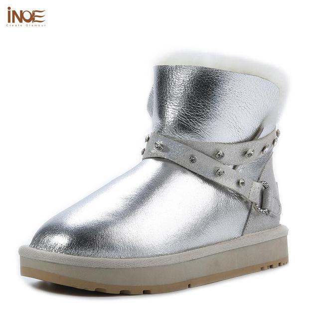 INOE Waterproof Sheepksin Leather Shearling Wool Fur Lined Short Winter Boots Women Ankle Snow Boots Silver Crystal Strap Shoes