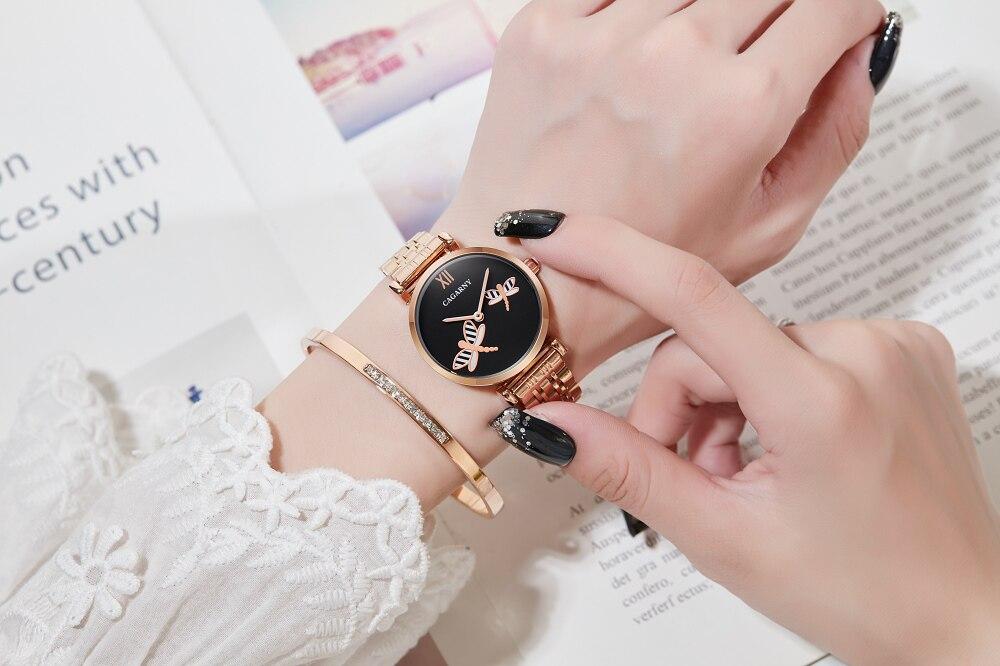 H00b167844c2e4b098b441ebc0f32a857w Silver Rose Gold Stainless Steel Bracelet Watch For  Women