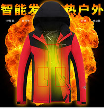 Heated Jackets Outdoor Mens Women Vest Coat USB Electric Battery Long Sleeves Heating Hooded Jackets Warm Winter ThermalClothing