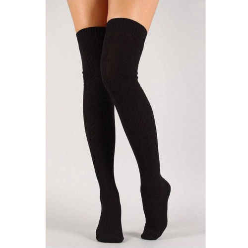 ผู้หญิงมากกว่าเข่าถุงเท้าแฟชั่นหญิงเซ็กซี่ถุงน่องยาว Boot ถักต้นขาสูงสีเทาสีกากีสีดำ