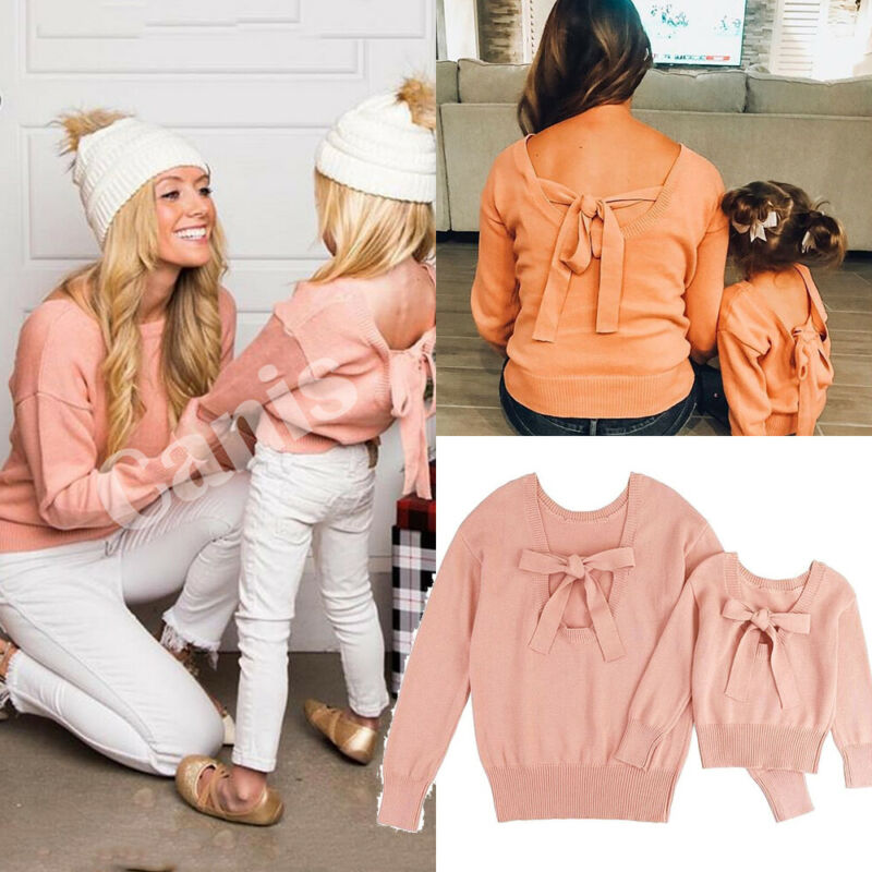 Mom And Me Family Matching Sweaters Clothes Mother Daughter Pink Solid Bowknot Sweater Pullover Jumper Tops