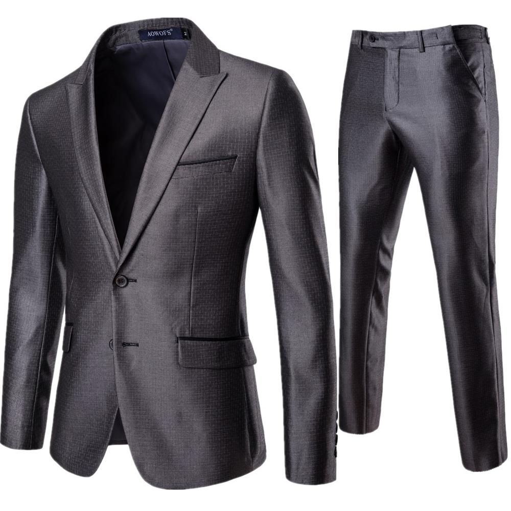 Mens Suits Set Grey Formal Blazer Pants Slim Fit Men Wedding Marriage Tuxedo Male 2 Piece Suit Set Plus Size 3XL