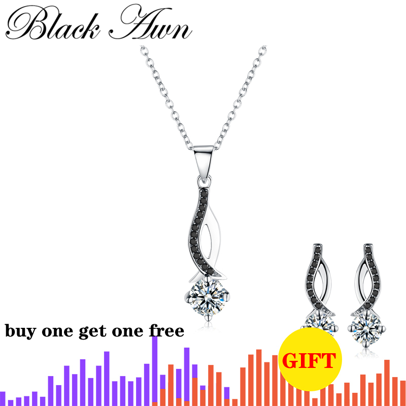 [BLACK AWN] Genuine 100% 925 Sterling Silver Jewelry Necklaces Pendants Trendy Black Spinel Stone Necklace For Women P073