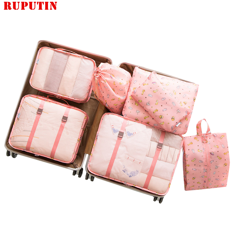7pcs/set Suitcase Organizer Portable Storage Bag Travel Accessory Kit Laundry Pouch Packing Set Travel Bag For Clothes Underwear