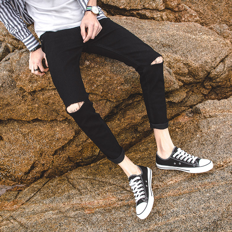 Autumn Knee A- Line With Holes Cowboy Pants Men Korean-style Trend Capri Skinny Pants Students Slim Fit Ripped Jeans