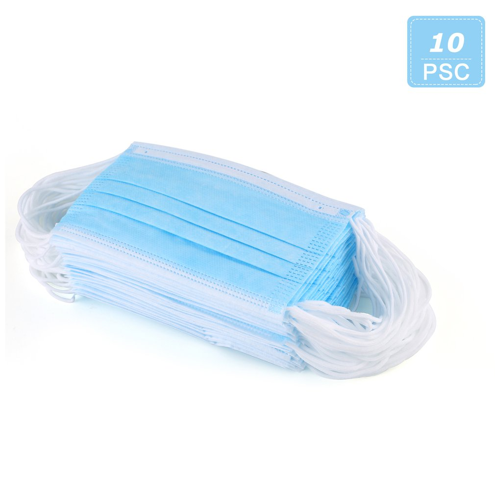 Disposable Mask Blue Four Layers High Efficiency Filtration Light And Breathable 3D Fitting Design 10Pcs