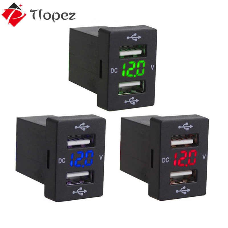 โปรโมชั่น 2.1A Dual USB Socket Charger 12-24V LEDรถUSB Power Adapter Chargerสำหรับโทรศัพท์มือถือรถสำหรับToyota D5