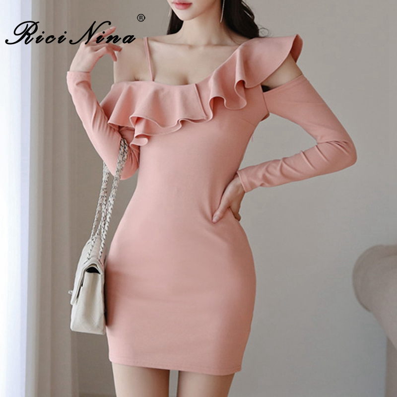 RICININA <font><b>Mini</b></font> <font><b>Dress</b></font> <font><b>Sexy</b></font> <font><b>Club</b></font> <font><b>Wear</b></font> For Women Ruffle Solid Ladies <font><b>Dresses</b></font> 2019 Autumn Sheath Office <font><b>Dress</b></font> Women Elegant Pink image