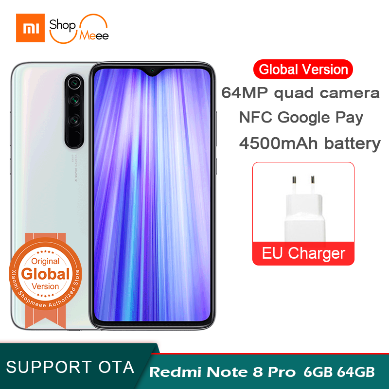 Global Version Xiaomi Redmi Note 8 Pro 6GB RAM 64GB ROM 64MP Quad Camera NFC 4500mAh 18W MTK Helio G90T 6.53
