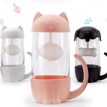 Cartoon Cute Kitten Glass Cup Tea Mug with Lid Glass Filter Glass Water Bottle with Fish Infuser Strainer Filter Home Offices office business glass water bottle portable double wall glass tea bottle with tea infuser creative transparent glass gift bottle