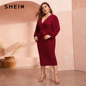 Image 3 - SHEIN Plus Size Burgundy Plunging Neck Wrap Belted Pencil Long Dress Women Autumn High Waist Fitted Slit Wrap Party Sexy Dresses
