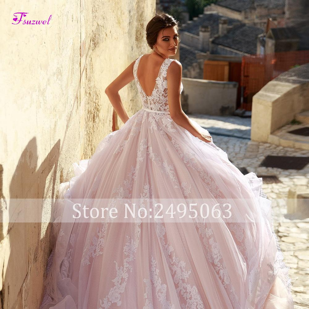 Image 4 - Fsuzwel New Arrival Sexy V Neck Backless A Line Wedding Dresses 2019 Gorgeous Appliques Sweep Train Bridal Gown Vestido de Noiva-in Wedding Dresses from Weddings & Events