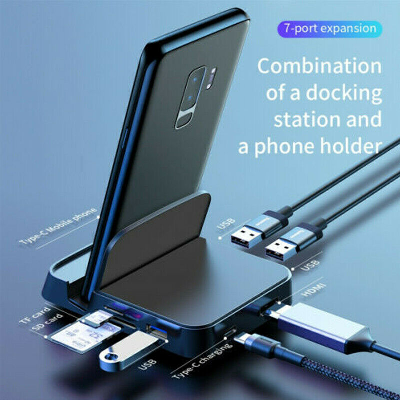7 In 1 USB C HUB Type C 3.0 Docking Station Phone Stand Dex Station USB C To HDMI Dock Power Adapter For MacBook Air Samsung