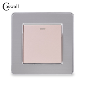 Image 3 - Coswall 1 Gang 1 Way Rocker Light Switch On / Off Wall Switch Stainless Steel Brushed Panel AC 12~250V White Black Gold