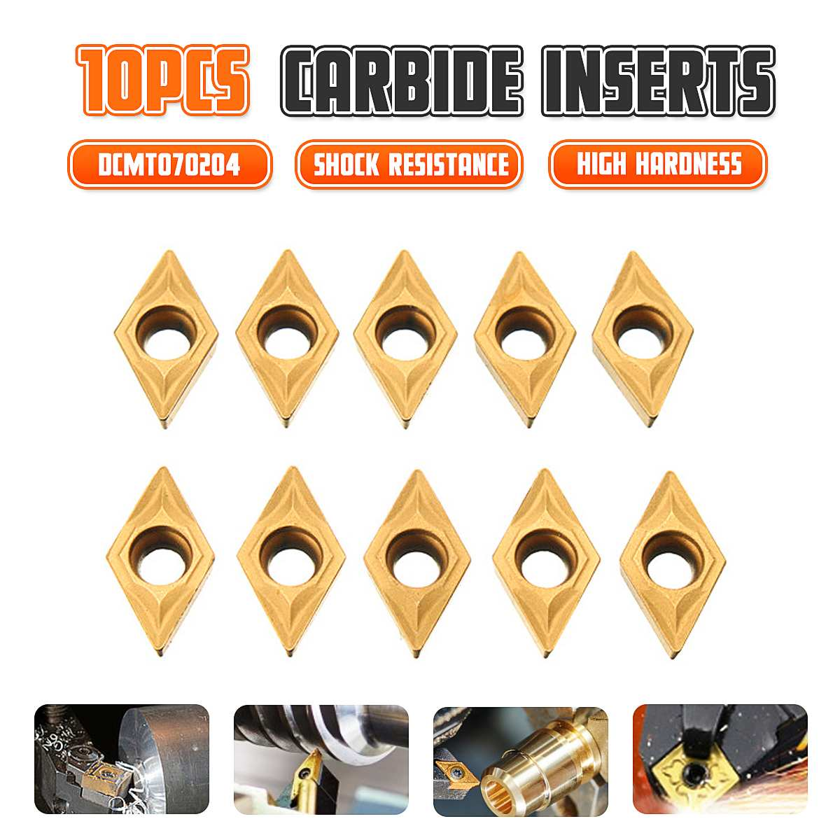 10pcs DCMT070204 SM IC908 Internal Turning Tool DCMT 070204 Carbide Insert Lathe Cutter Tool Turning Insert Cutting Tools CNC