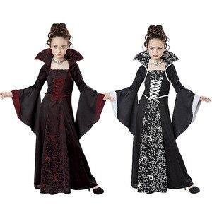 Image 4 - Kostium na Halloween straszny czarownica wampir Cosplay wydajność dla dzieci sukienka bal przebierańców wieczorne Party karnawałowe suknie balowe dla dziewczynki