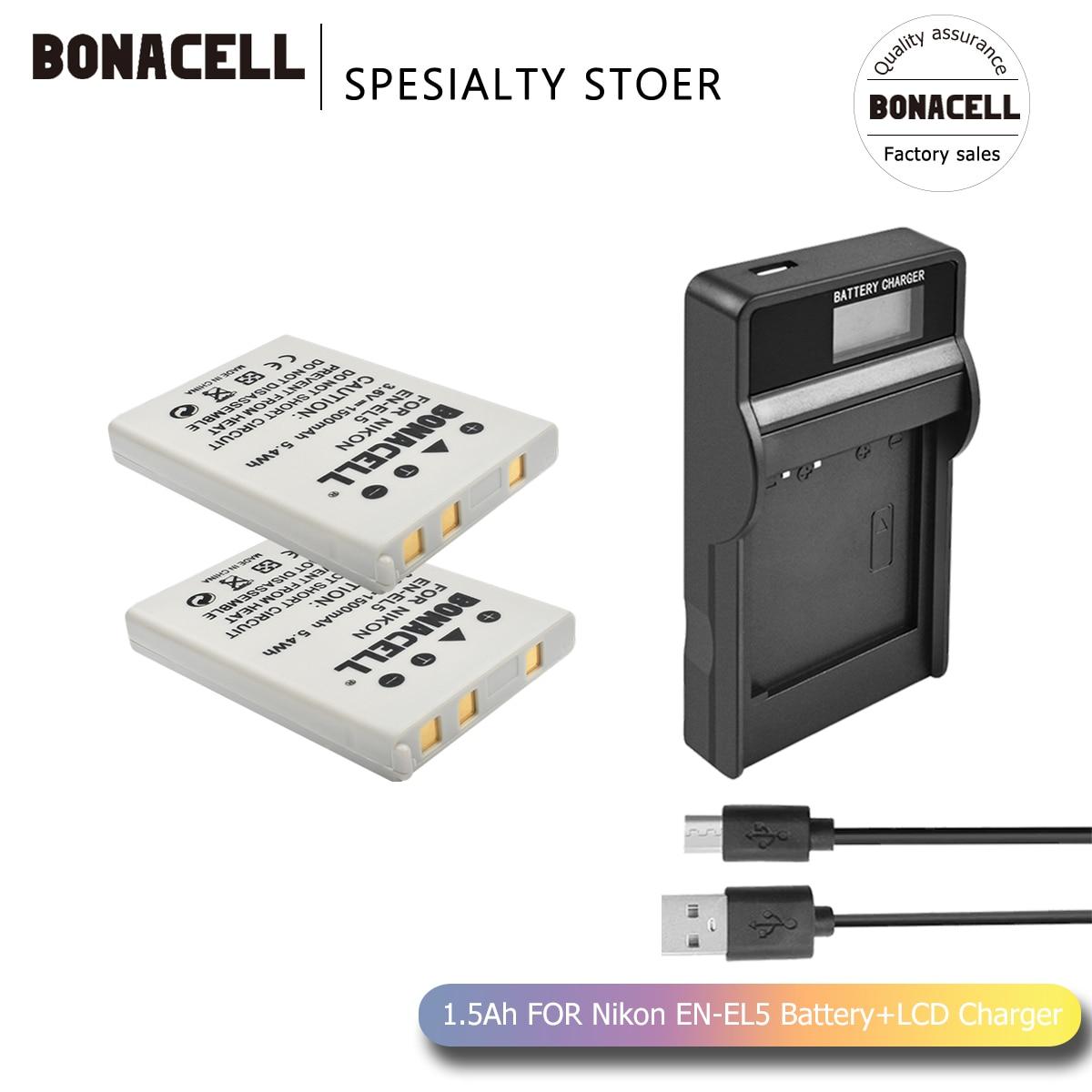 Bonacell 1500mAh EN-EL5 Digital Camera  For Nikon Coolpix P4 P80 P90 P100 P500 P510 P520 P530 P5000 P5100 L50