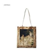 Винтажная Женская Холщовая Сумка на плечо с масляными рисунками, сумки на плечо с большой вместительностью для девушек, сумки на плечо в стиле Бартлет, новинка