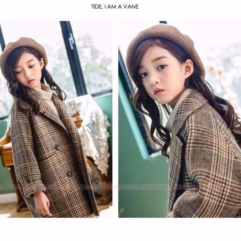 Платье для девочек в клетку шерстяное пальто Корейском стиле