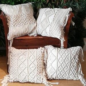 Image 2 - 45*45cm 100% Cotton Linen Macrame Hand woven Cotton Thread Pillow Covers Geometry Bohemia Cushion Covers Home Decor