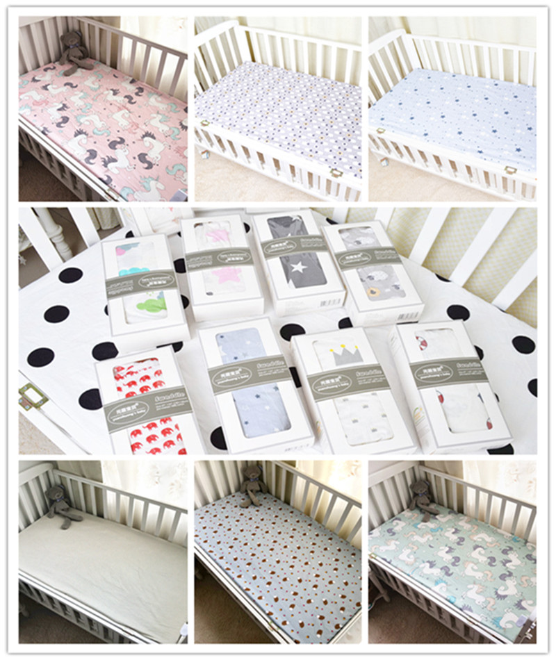 100% Cotton Baby Crib Fitted Sheets Print Breathable Newborn Toddler Bed Mattress Cover Kid 's Bedspreads Baby Bedding Sheet