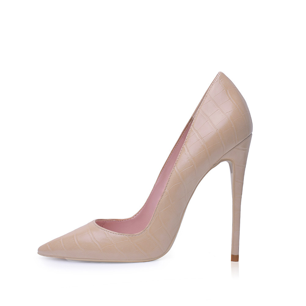 GENSHUO Nude Heels Sexy Tacones Mujer Stiletto Shoes Women's High Heel Shoes Plus Size 12CM Heels Pumps For Party Black White