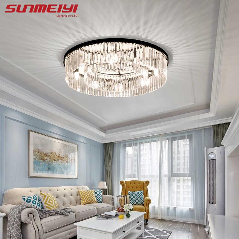 คริสตัลโมเดิร์นโคมไฟเพดานอุตสาหกรรมRetroบ้านสำหรับห้องนั่งเล่นเด็กห้องนอนLEDเพดานสี่เหลี่ยมผืนผ้า