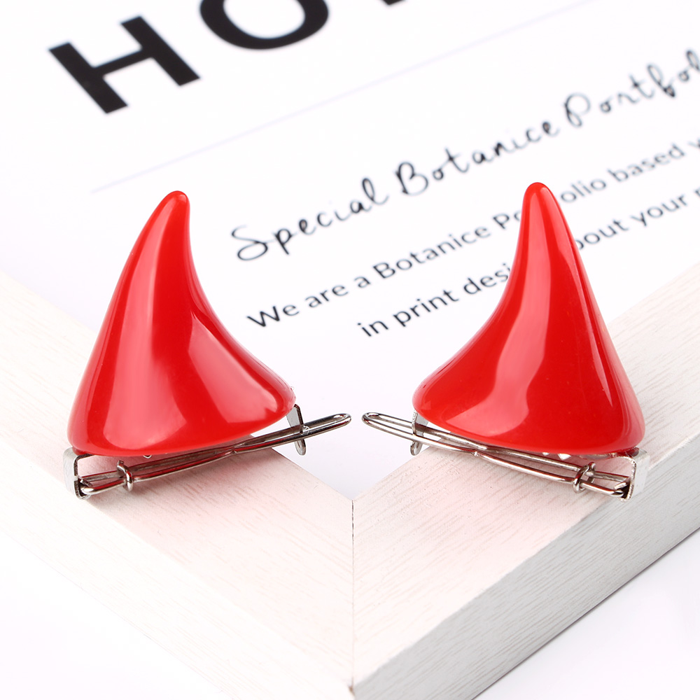 Nice 1 Pair Horror Gothic Cosplay Costume Horn  Hairpins Barrettes Head Clips