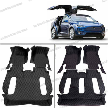 Lsrtw2017 Leather Car Floor Mats for Tesla Model X 2015 2016 2017 2018 2019 2020 5 6 7 Seats Sticker Mat Interior Carpet Rug lsrtw2017 leather car interior floor mats for volkswagen transporter 2016 2017 2018 2019 2020 t6 carpet rug styling vw