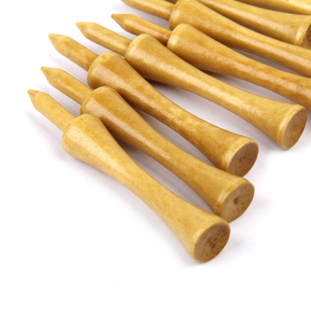 Professional Wooden Lock / Step Golf Tees 69 MM Long 100 Lot Burlywood