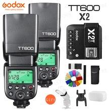 2X Godox TT600 TT600S 2.4G אלחוטי TTL 1/8000s פלאש Speedlite + X2T C/N/S/F/O/P טריגר עבור Canon Nikon sony fuji אולימפוס