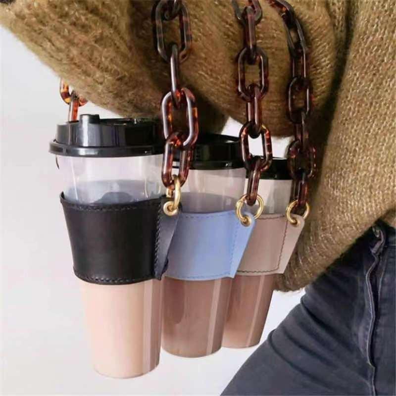 Luxury Leather Drinks Handled Sleeve Holder