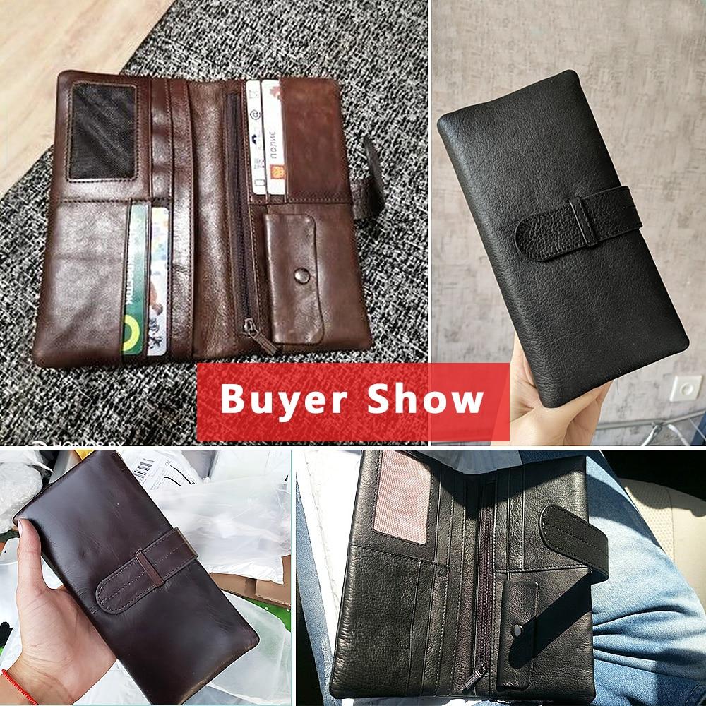 Image 4 - WESTAL wallet mens genuine leather purse for men clutch male wallets long Leather zipper wallet men business money bag 6018Wallets   -
