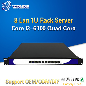 Yanling New 1U Rack Server 8 Intel i211-AT Lan Network Security Computer VPN Router with Core i3 6100 CPU For ROS Pfsense