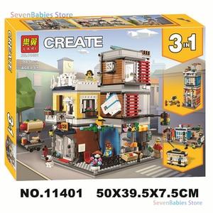 New Creator 3 In 1 Blocks City Townhouse Pet Shop & Cafe Toy Store Building Blocks Set Lepining Bricks Lepinblocks City Kid Gift