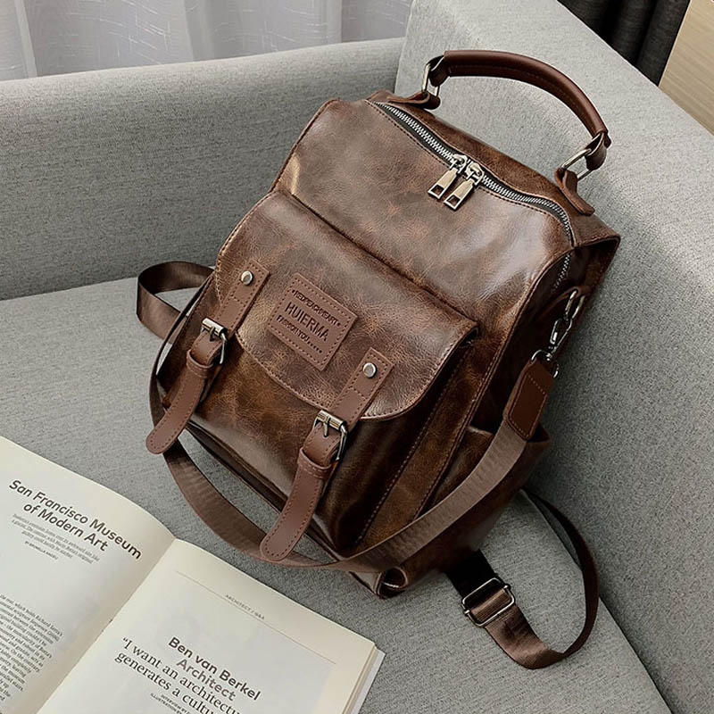 Backpacks Party Solid Pu Leather School Bag Zipper Black Fashion Fashionable School Bags For Teenage Girls Mochila Notebook