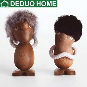 DEDUO Home Decor High Quality 2Pcs/Lot Nordic Miniature Wooden Puppet Creative Figurines kids gifts