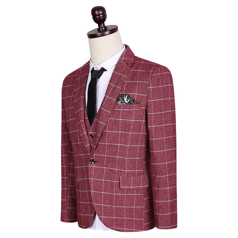 New Winter Luxury Mens Plaid Suits Casual Slim 3 Pieces Men Red Plus Size M-5XL High Qualty Wedding Dress Suits Costume Homme