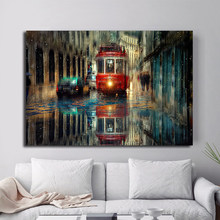 XINQ Retro City Street Landscape Oil Painting on Canvas Art Posters and Prints Scandinavian Wall Picture for Living Room Decor(China)
