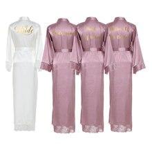 YUXINBRIDAL 2019 New  Silk Satin Lace Robes White Bridesmaid Bride Wedding Long Robe Bathrobe