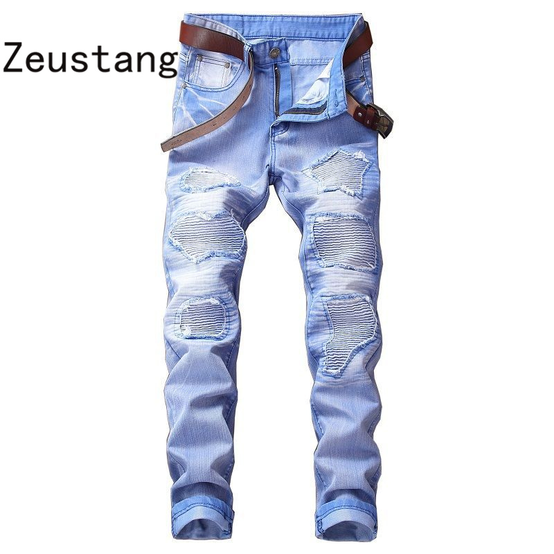(No Belt) 2020 Spring Punk Style Men's Jeans Fashion Casual New Straight High Elasticity 28-42 Washed Ripped Hole Trousers JS03