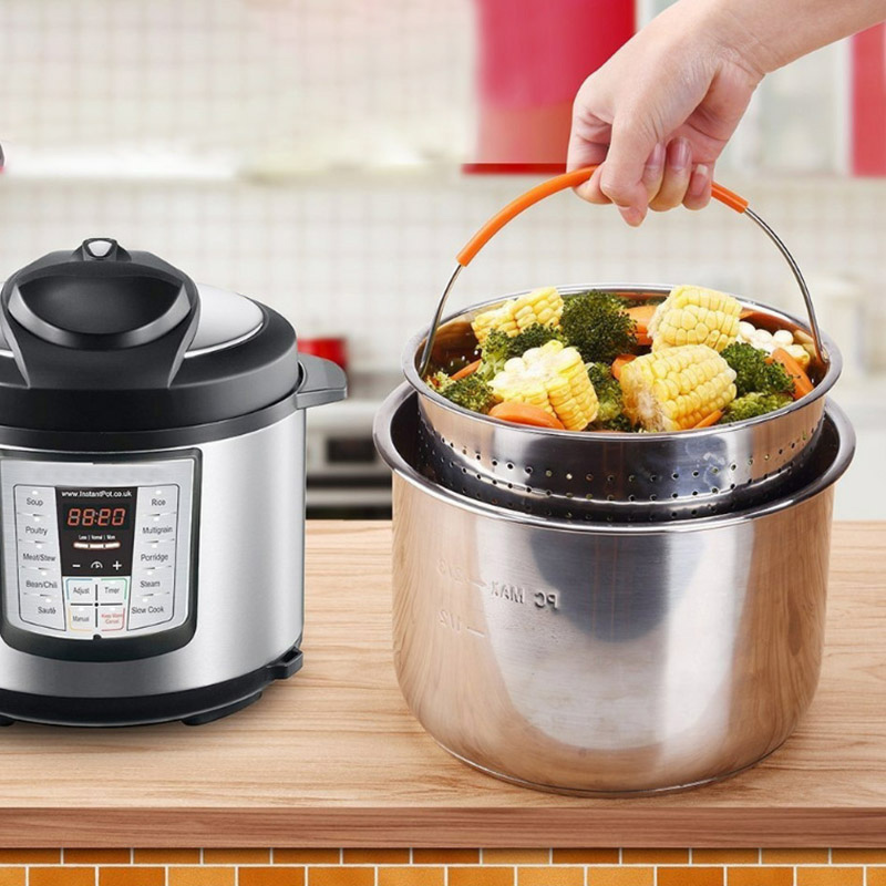 Hot Stainless Steel Steamer Basket Vegetable Drain Basket Pressure Cooker Home Kitchen Tool XJS789