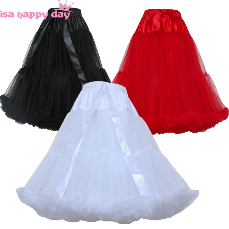 55cm Length White Black Red Petticoat For Cosplay Wedding Prom Tulle Petticoat Crinoline Underskirt Rockabilly Swing Tutu Skirt