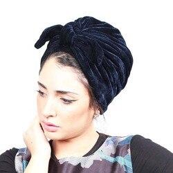 Moda kobiety łuk bowknot hidżab aksamitna czapka kapelusz po chemioterapii pałąk Turban muzułmański bandany na ślub peruki imprezowe akcesoria mujer