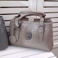 Fashion Designer Women Genuine Leather Handbag Import Sheep Skin Hand Woven Shoulder bag Big Capacity Rome Bag High quality
