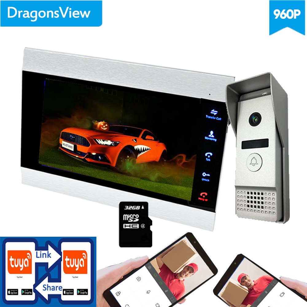 【Wifi AHD 960P】Dragonsview  7''  Wireless Video Intercom For Android And IOS Wifi Video Door Phone Doorbell System Unlock Record