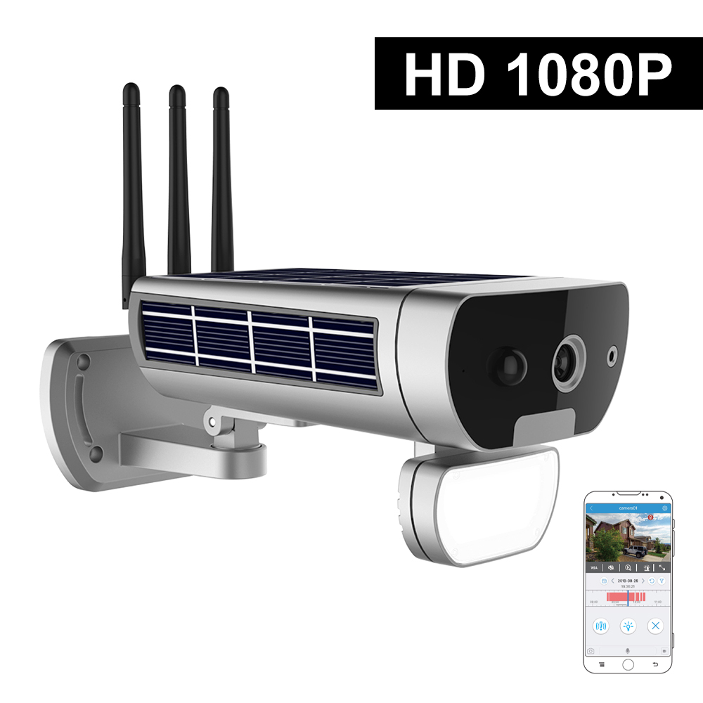 IP Wireless Camera HD 1080P WiFi Solar&Battery Power Bullet PIR Motion Detection Waterproof Thunderproof Outdoor Security Camera
