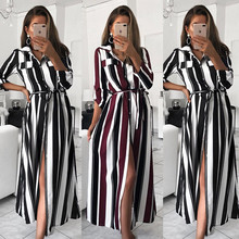 цена Party Dress Office Pregnancy Dress Striped Sashes Long Dress Women Turn-Down Collar Beach Shirt Dress Fashion Maternity Clothes